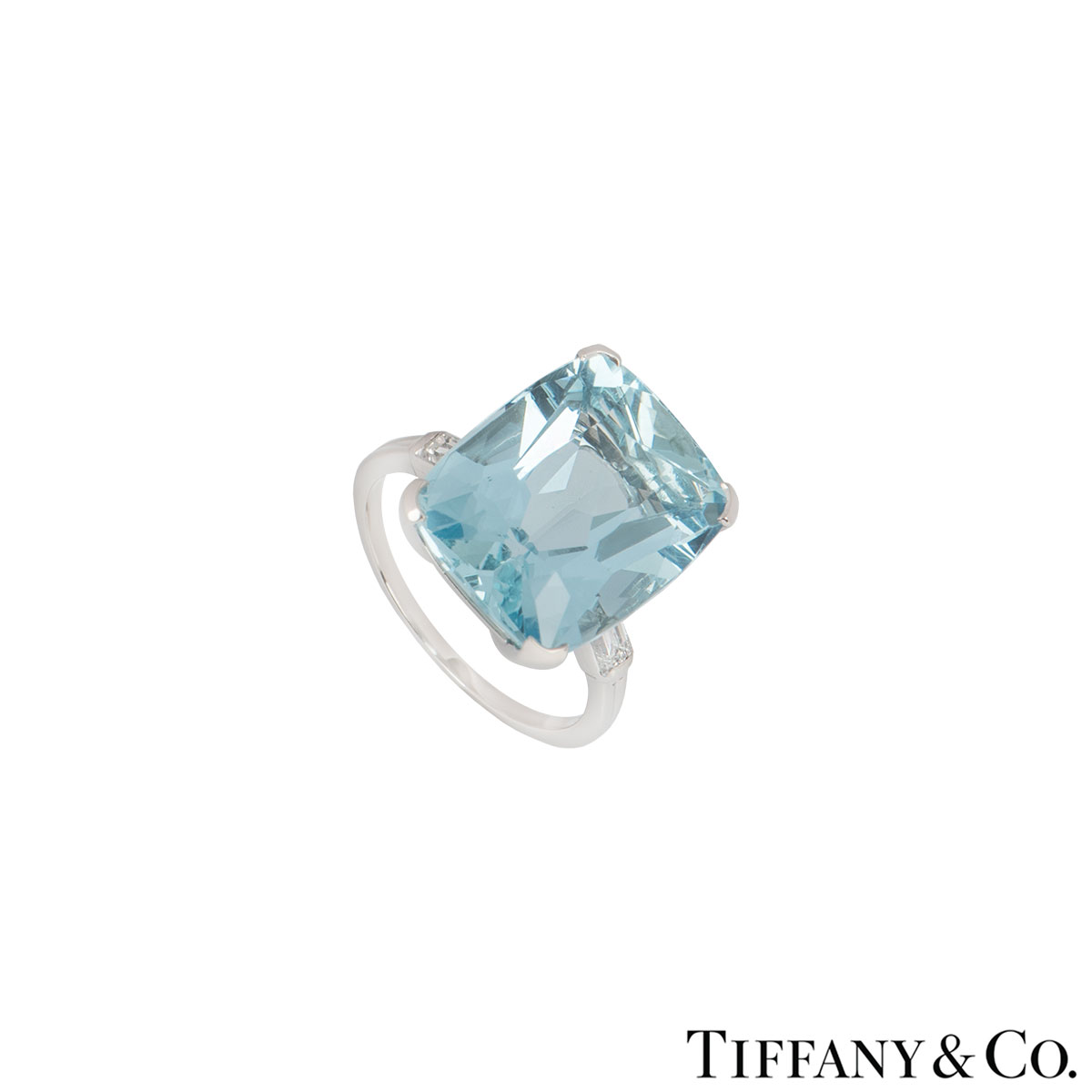 Tiffany &  Co. Palladium Aquamarine and Diamond Ring